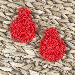 "Boutique Jewelry - 2 for $30 NWT ""Katie"" Beaded Fringe Earrings Red"